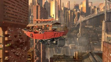 """Yatai futurista en """"El quinto elemento""""."""